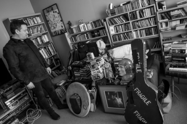 Martin Phillipps at home in Dunedin sorting through items for upcoming exhibition. Friday 8 June 2018. Photo: Chris Sullivan/Seen in Dunedin